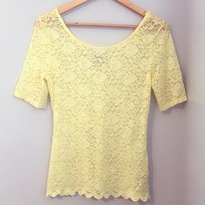 Yellow lace blouse